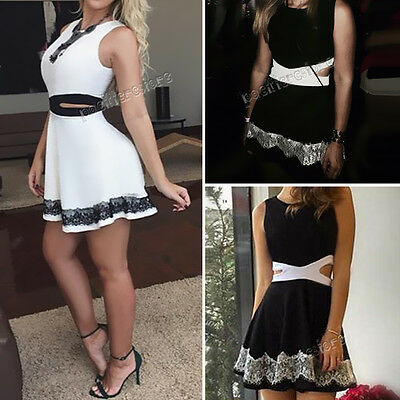 Fashion Sexy Women Summer Cocktail Party Evening Lace Sleeveless Mini Dress NEW