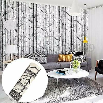 Forest Birch Tree Rustic Modern Minimalist Black White Woods Wallpaper Roll