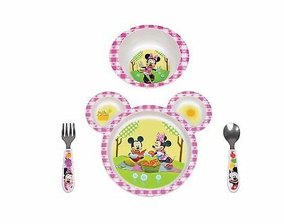 4 PCS Dinnerware Set Disney Baby Minnie Mouse Kids Dishes 3 Section Plate Fun