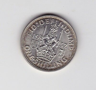 1937 Uk George Vi About Unc Scottish Shilling Coin - 0.500 Silver