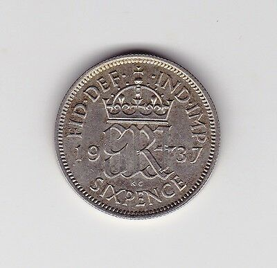 1937 Uk George Vi About Unc Sixpence Coin - 0.500 Silver