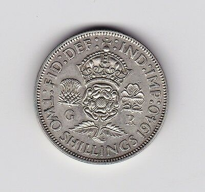 1940 Uk George Vi About High Grade Florin Coin - 0.500 Silver