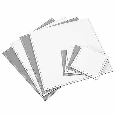 Reversible Flip 4 Placemats & 4 Coasters Grey off-White Square Faux Leather Set