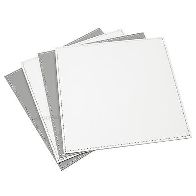 Reversible Flip 4 Placemats Grey off-White Square Faux Leather Table Mats Set