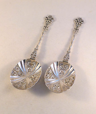 Pair Of Fancy Pierced Handle English Sterling Serving Spoons-7 1/4""