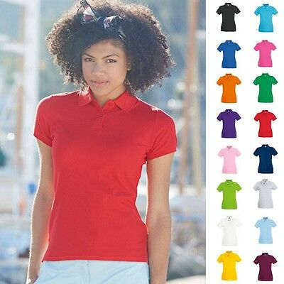 Fruit of the loom Damen Poloshirt Premium Lady Fit Frauen Polo Shirt Baumwolle