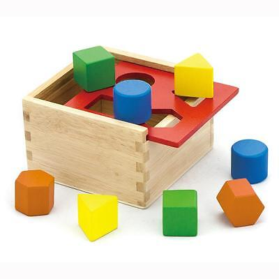 Childrens Wooden Shape Sorter Sorting Blocks Box Kids Wood Puzzle Toy