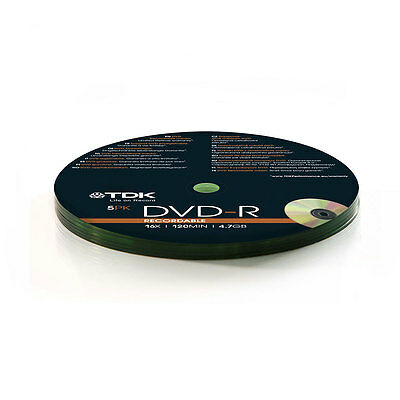 5x TDK DVD-R 4.7GB Recordable Discs 16x Speed 120 min CD Shrink Wrap Pack