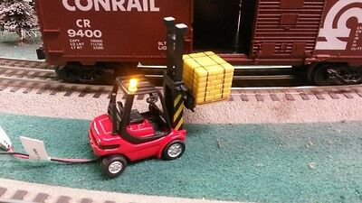 O Scale Welly Forklift w/ Flashing Yellow Warning LED Light for Lionel Layout
