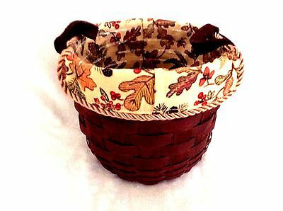 Small Fruit Basket Protector Autumn Path Liner Merlot Brown Leather Longaberger