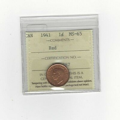**1941**,ICCS Graded Canadian, Small One Cent, **MS-65**