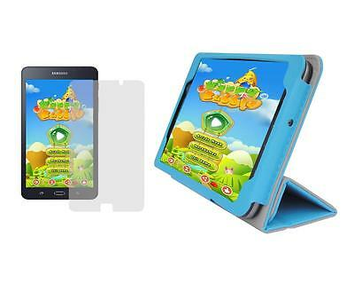 """Screen Protector + D. Blue Folio Cover Case for Samsung Galaxy Tab A 7"""" SM-T280"""