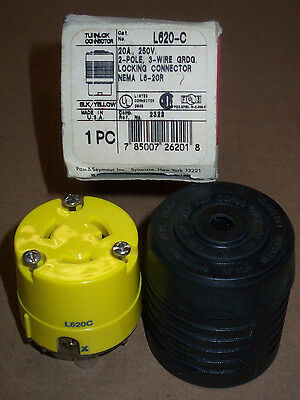 New Pass & Seymour L620-C 2 pole 3 wire 20 amp 250v Grounding Locking Connector