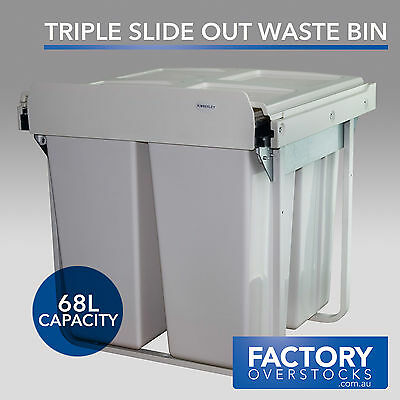 68L Slide Out Triple Waste Bin - Pull Out Concealed Kitchen Three Compartment Ru
