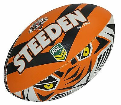 "NRL Wests Tigers Logo 11"" Kids Small Football Foot Ball STEEDEN 2017 Gift"