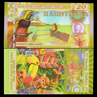 South Pacific States, 20 dollar, (Cook islands) 2015, Polymer, Fantasy, UNC