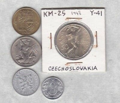 Czechoslovakia 1948 Silver 50 Korun In Near Mint Condition