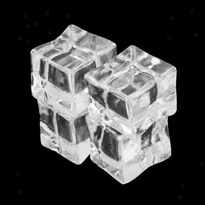 Clear Square 20pcs Fake Artificial Acrylic Ice Cubes Crystal Barwar Home Decor
