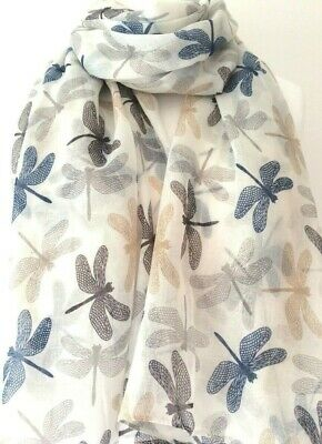 Cream Dragonfly Scarf Ladies Turquoise Blue Pink Dragonflies Wrap Dragonflys New
