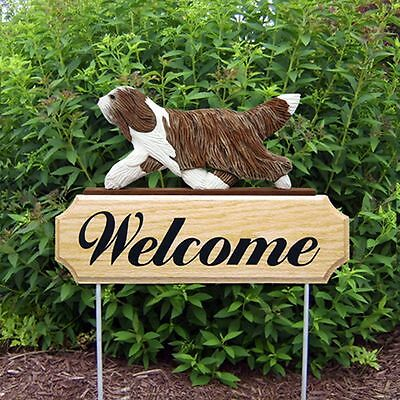 Bearded Collie Welcome Sign Outdoor Oak Wood Yard Sign Brown