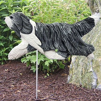 Bearded Collie Outdoor Garden Sign Hand Painted Figure Blue