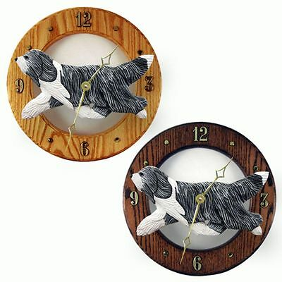 Bearded Collie Wood Clock Wall Plaque Blue