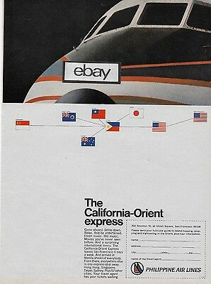 Philippine Airlines California-Orient Express Dc-8 Jet From San Francisco Ad
