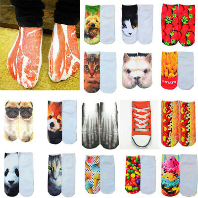 Hot Men Women Low Cut Ankle Socks Cotton 3D Print Animals Foods Socks 1-22Pairs