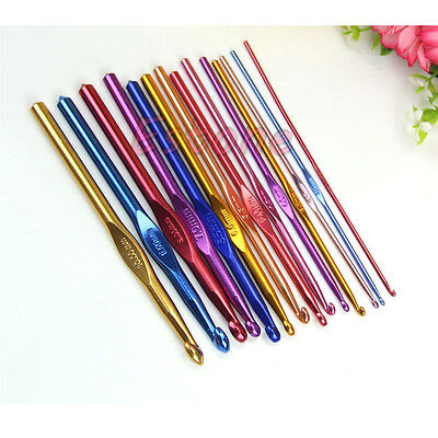 14Pcs Aluminum Multicolour Crochet Hooks Needles Knitting 2-10mm Craft Yarn Knit