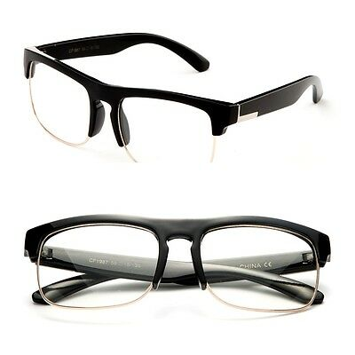 Half Frame Clear Lens Fashion Glasses Key Hole Non Prescription