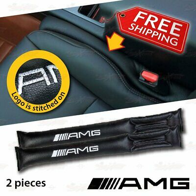 2 PC Leather Leak Proof Gap Soft Filler Car Seat Stopper Pads for Benz AMG BLACK