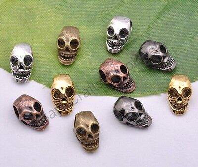 Retro Style Tibet Silver Skull Charms Beads Jewelry Findings 13*7mm D1150