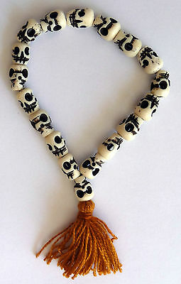 Skull Mala Yak Bone Tibetan Buddhist Prayer Bracelet Made in Nepal
