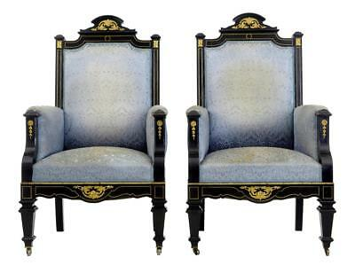 Pair Of 19Th Century French Ebonised And Ormolu Armchairs