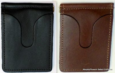 Leather Money Clip w Card Pockets Made in USA Black or Brown New FREE SHIPPING