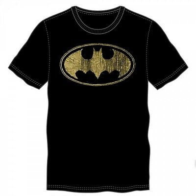 Batman Gold Foil Logo Black Tee S Brand New