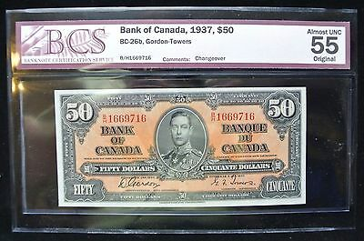 BANK OF CANADA 1937 $50 NOTE - Almost UNC - Prefix B/H - Gordon & Tower - AU-55