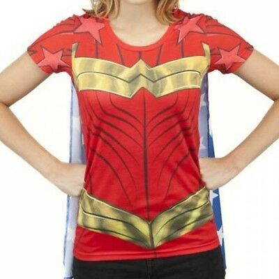 DC Comics Wonder Woman Sublimed Caped Tee S Brand New