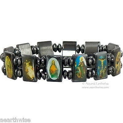 PATRON SAINTS BRACELET HEMATITE ON ELASTIC Wicca Witch Pagan Yoga GODDESS