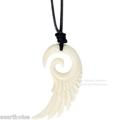ANGEL WING CARVED BOVINE BONE PENDANT WITH CORD Wicca Witch Goth Pagan Reiki