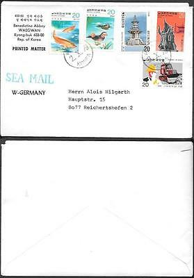 South Korea Cover to Germany 1979. Fish Birds Tractor stamps