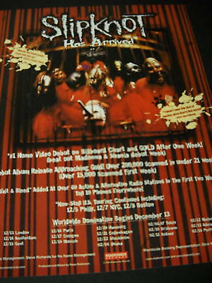 SLIPKNOT Has Arrived 1999 wild looking PROMO POSTER AD