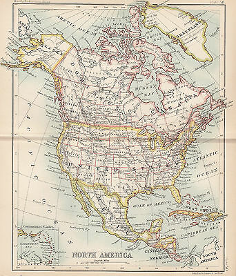 1898 Antique Map of  North America Canada Greenland United States Mexico
