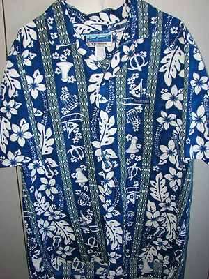 Excellent of Hawaii XL Tapa Ukulele Flowers on Blue/Mint