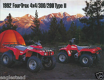 ATV Brochure - Honda - FourTrax 4x4 300 200 Type II - 1992  (V32)