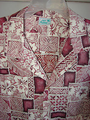 Jade Fashions  XL  Floral Squares & Tapa on Red/NWOT