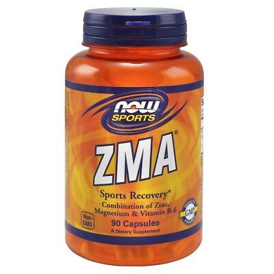 NOW Sports ZMA 800mg Zinc Magnesium Vitamin B6 - 90 caps Muscle Recovery & Sleep