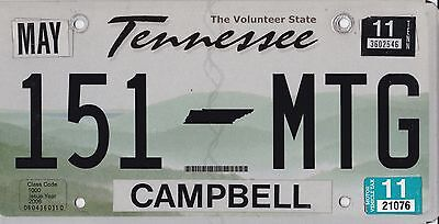 ✿◕‿◕✿ Authentic** Usa  2011 Tennessee Campbell County License Plate.