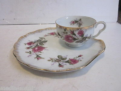 Vintage Napco China Hand Painted Pink Rose Pattern Tea Cup & Sandwich Plate