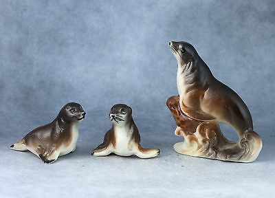 Vintage Bone China Set of 3 Miniature Seal Family Figurines Matte Made In Japan